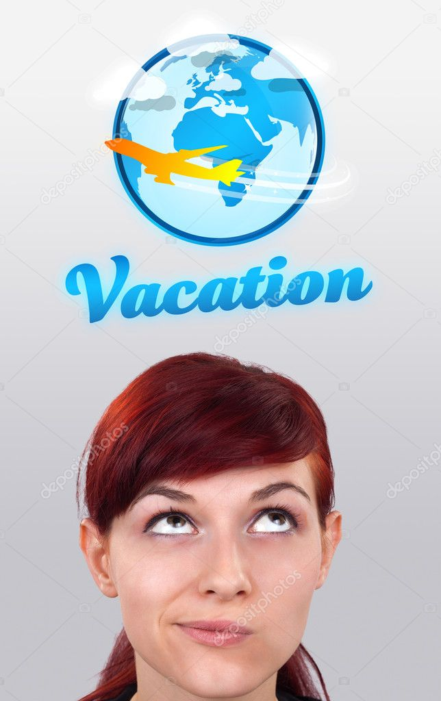 Young girl head looking with gesture at vacation type of sign — Stock Photo #6854178