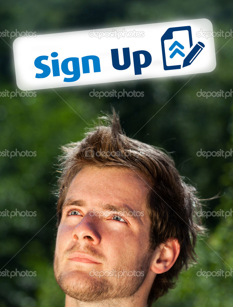 Young persons head looking with gesture at internet type of icons — Stock Photo #6855521