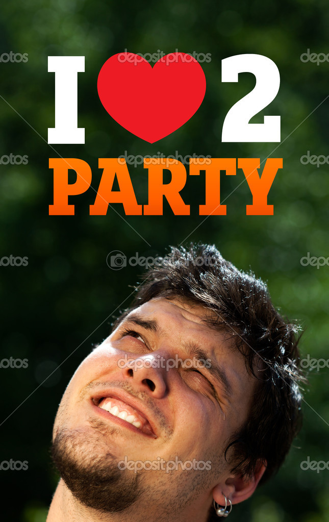 Young persons head looking with gesture at party icons and sign — Stock Photo #6855571