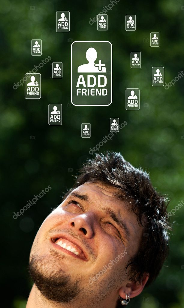 Young persons head looking with gesture at social type of icons and signs  Stock Photo #6855617
