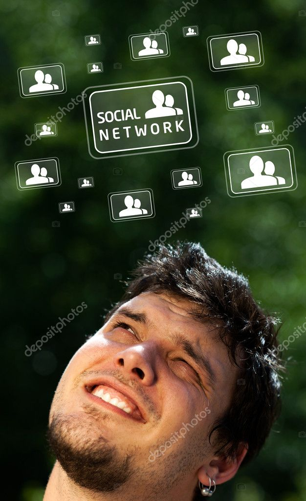 Young persons head looking with gesture at social type of icons and signs — Stock Photo #6855622