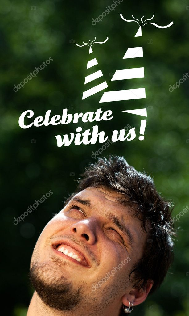 Young persons head looking with gesture at party icons and sign — Stock Photo #6855669