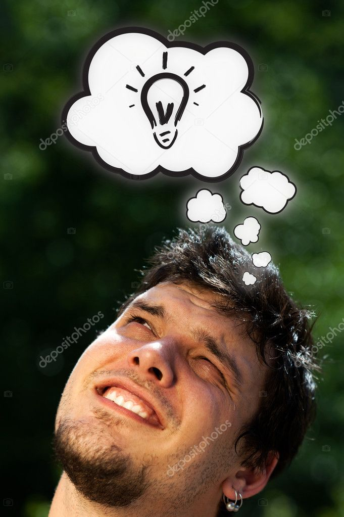 Young persons head thinking about white clouds — Stock Photo #6855703