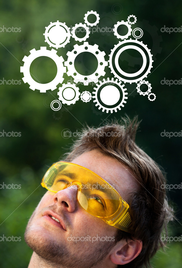 Young persons head looking with gesture at idea type of sign — Stock Photo #6856151