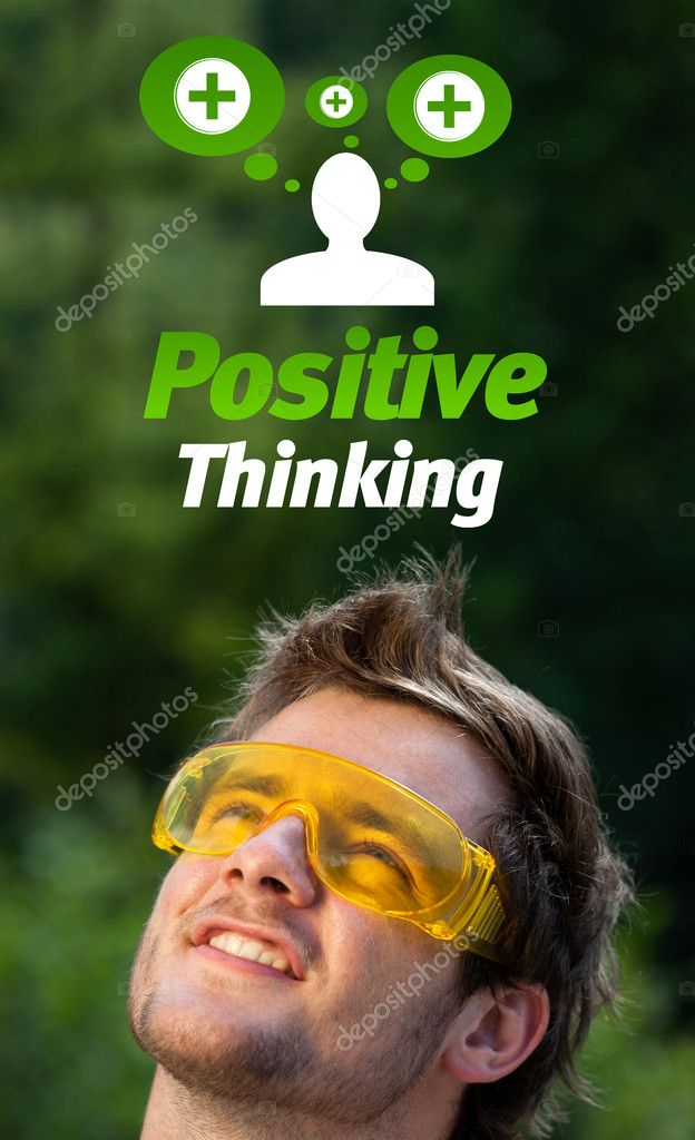 Young persons head looking with gesture at positive negative signs — Stock Photo #6856215