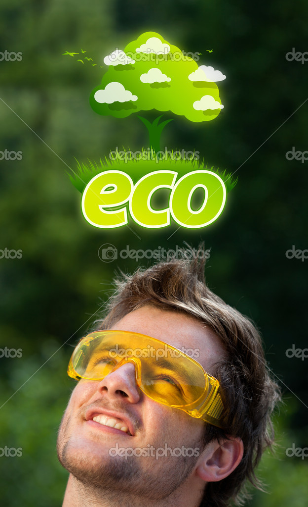 Young persons head looking at green eco sign — Stock Photo #6856250