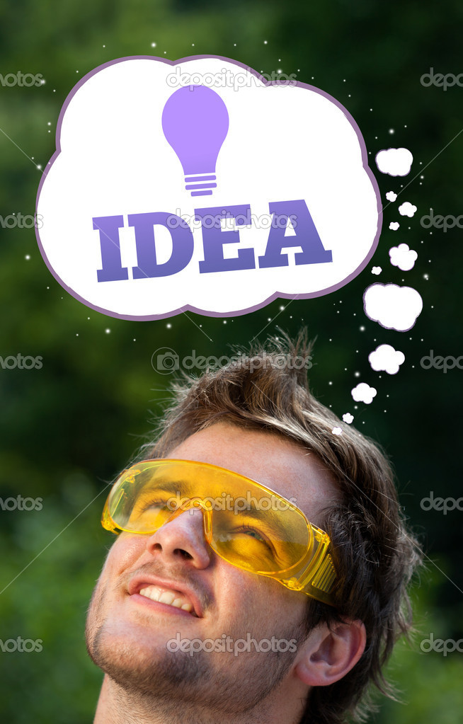Young persons head looking with gesture at idea type of sign  Stock Photo #6856271