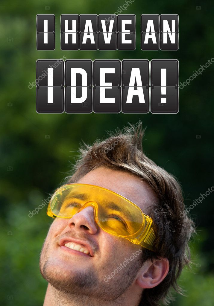 Young persons head looking with gesture at idea type of sign — Stock Photo #6856349