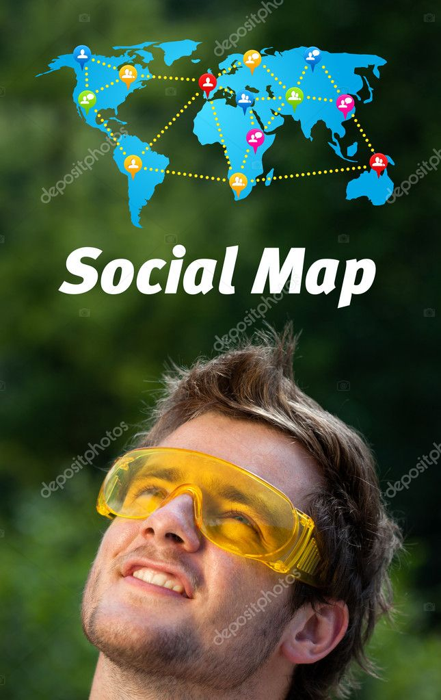 Young persons head looking with gesture at social type of icons and signs — Stock Photo #6856358