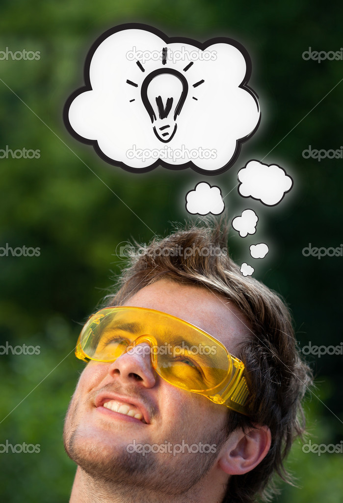 Young persons head thinking about white clouds — Stock Photo #6856367