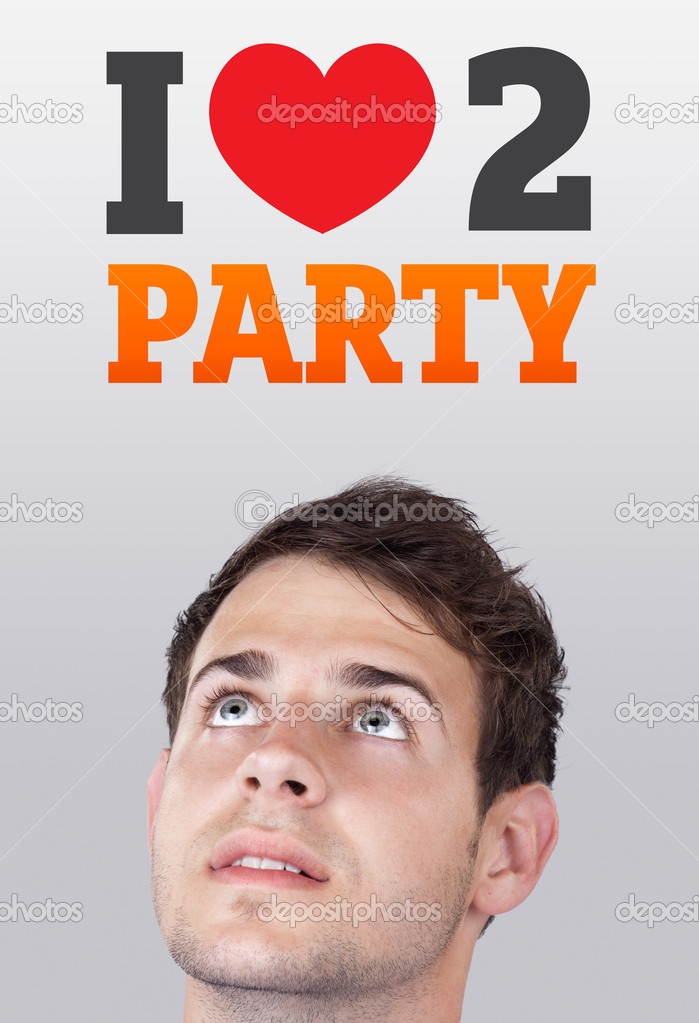 Young persons head looking with gesture at party icons and sign — Stock Photo #6856445