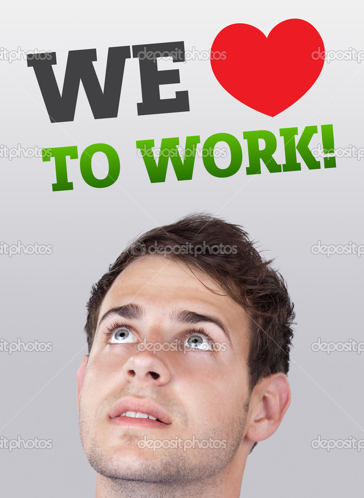 Young persons head looking with gesture at labor type of icons — Stock Photo #6856461