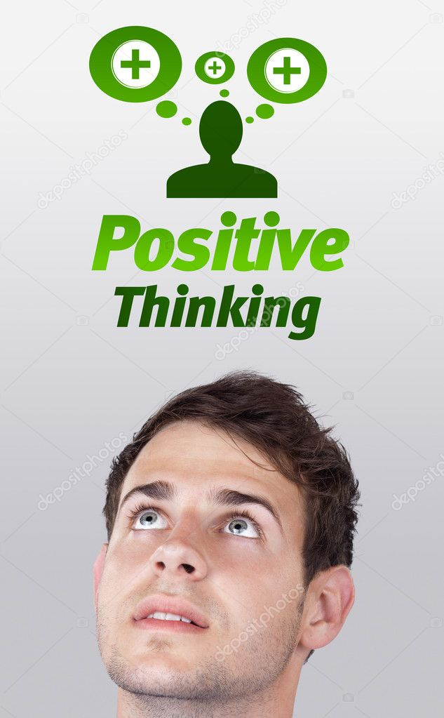 Young persons head looking with gesture at positive negative signs — Stock Photo #6856480