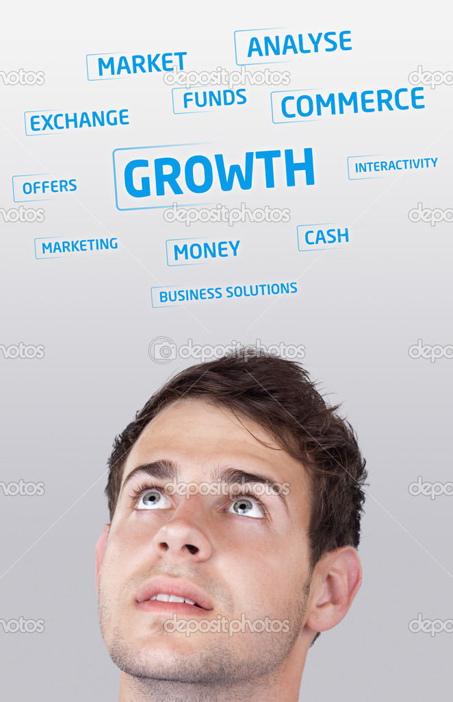 Young persons head looking at business icons and images  Stock Photo #6856610