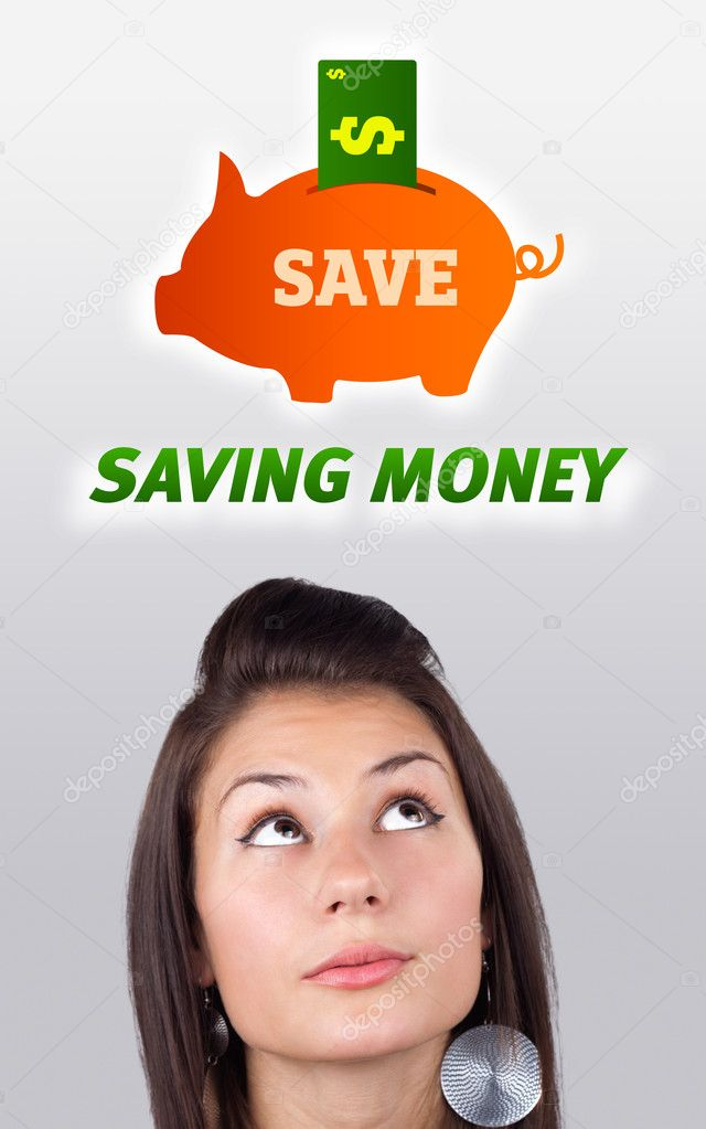 Young girl head looking at business icons and images  Stock Photo #6856751