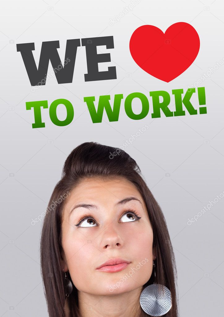Young girl head looking with gesture at labor type of icons — Stock Photo #6856760