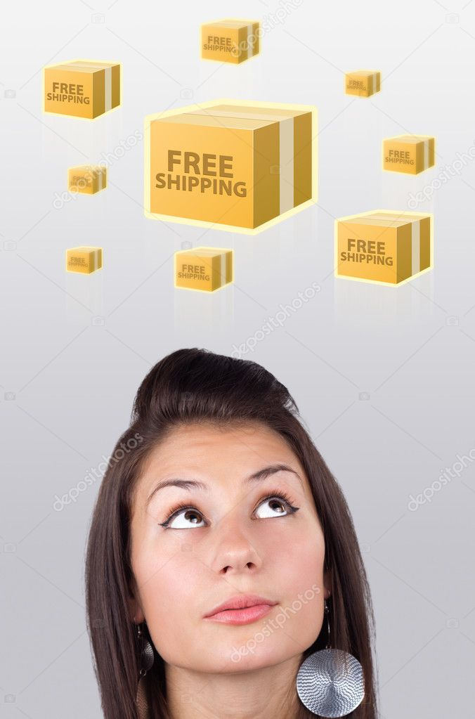Young persons head looking with gesture at shipping and order signs — Stock Photo #6856831