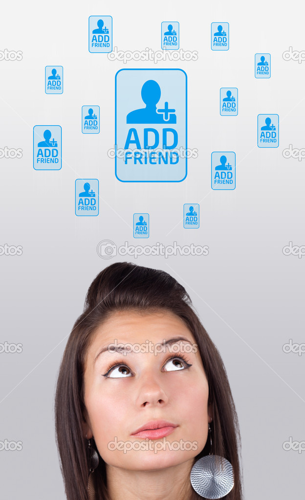 Young girl head looking with gesture at social type of icons and signs — Stock Photo #6856834