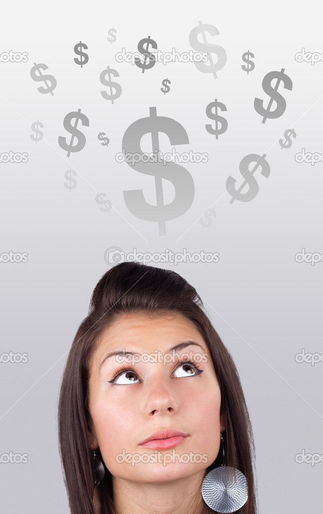 Young girl head looking at business icons and images — Stock Photo #6856890