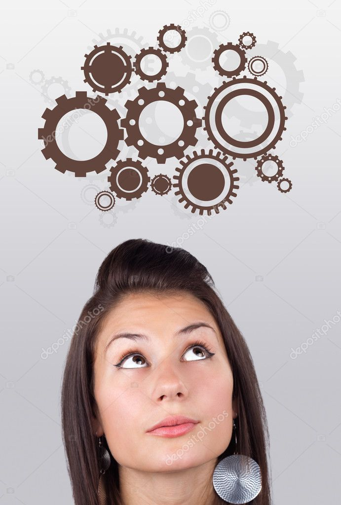 Young girl head looking with gesture at idea type of sign — Stock Photo #6856921