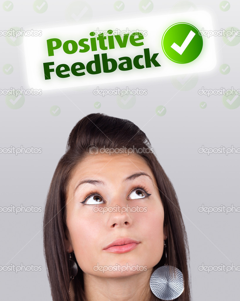 Young girl head looking with gesture at positive negative signs — Stock Photo #6856926
