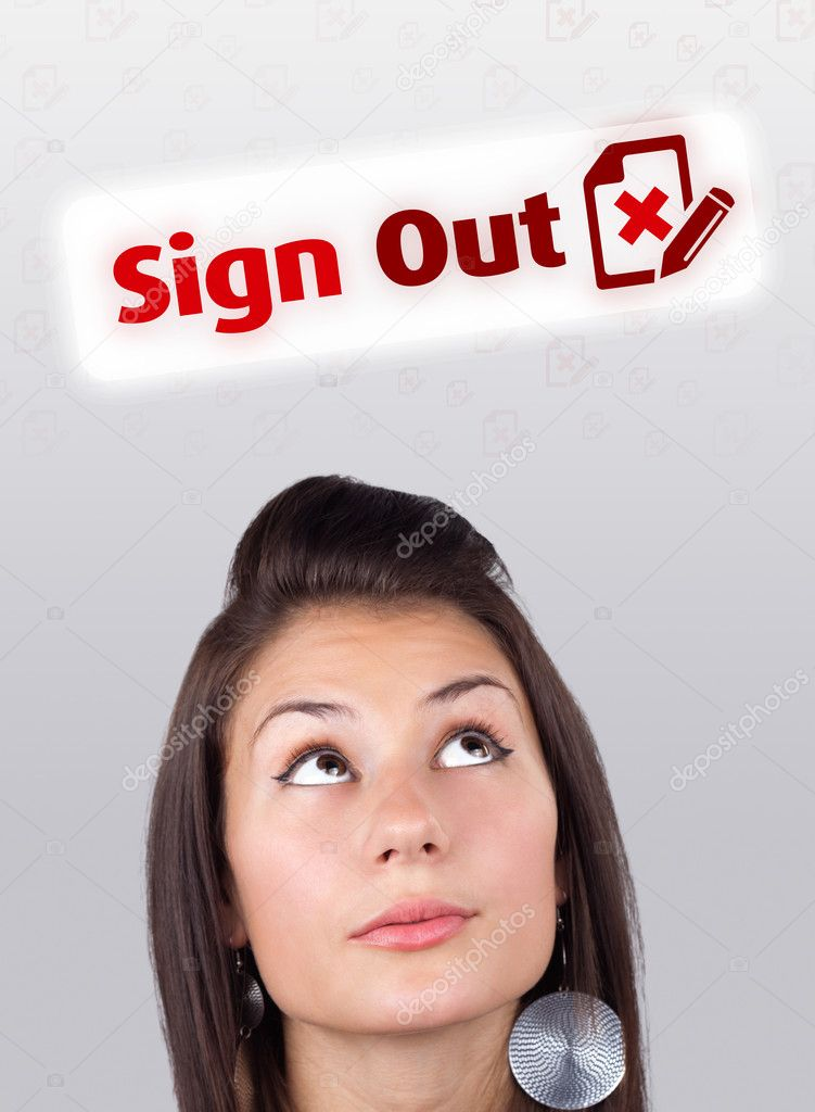 Young gril head looking with gesture at internet type of icons — Stock Photo #6856930