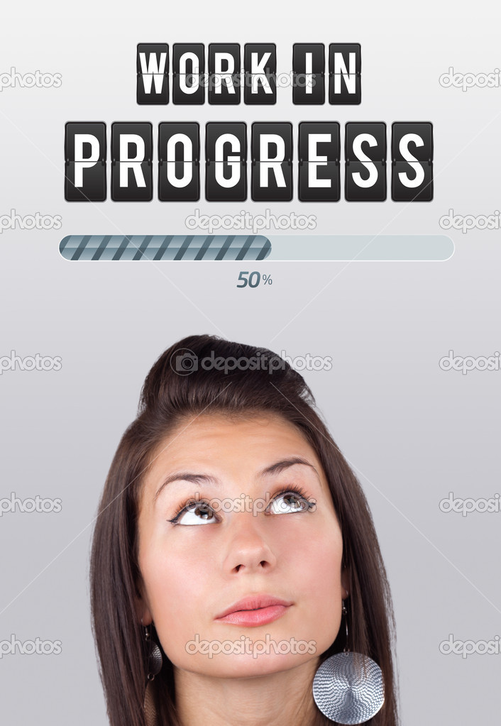 Young girl head looking with gesture at idea type of sign — Stock Photo #6856941