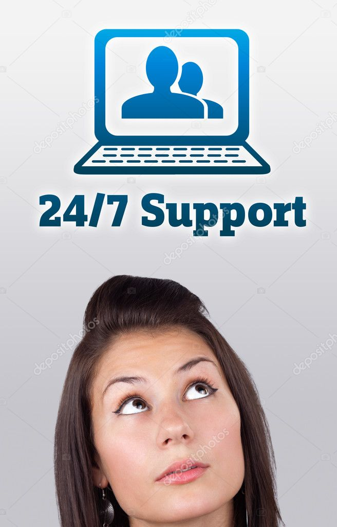 Young girl head looking with gesture at support contact type of icons and signs  Stock Photo #6856977