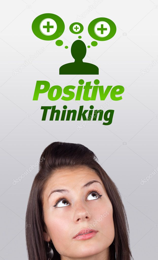 Young girl head looking with gesture at positive negative signs — Stock Photo #6857002