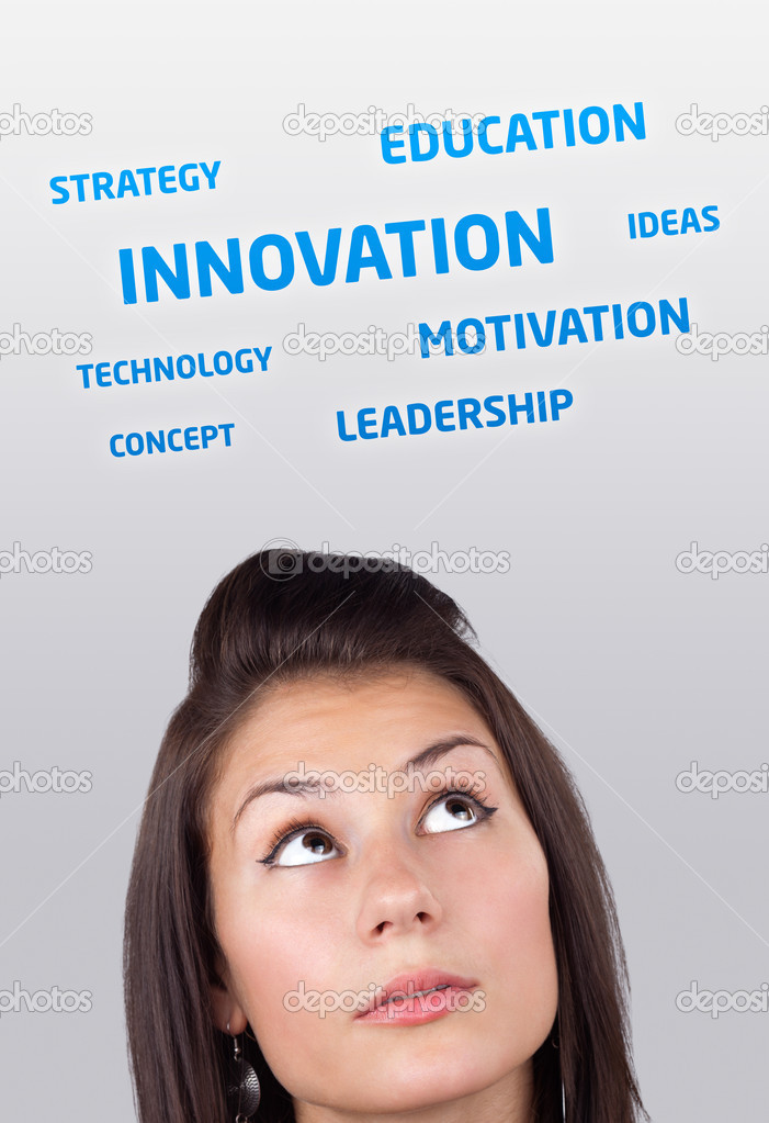Young girl head looking at business icons and images — Foto Stock #6857016