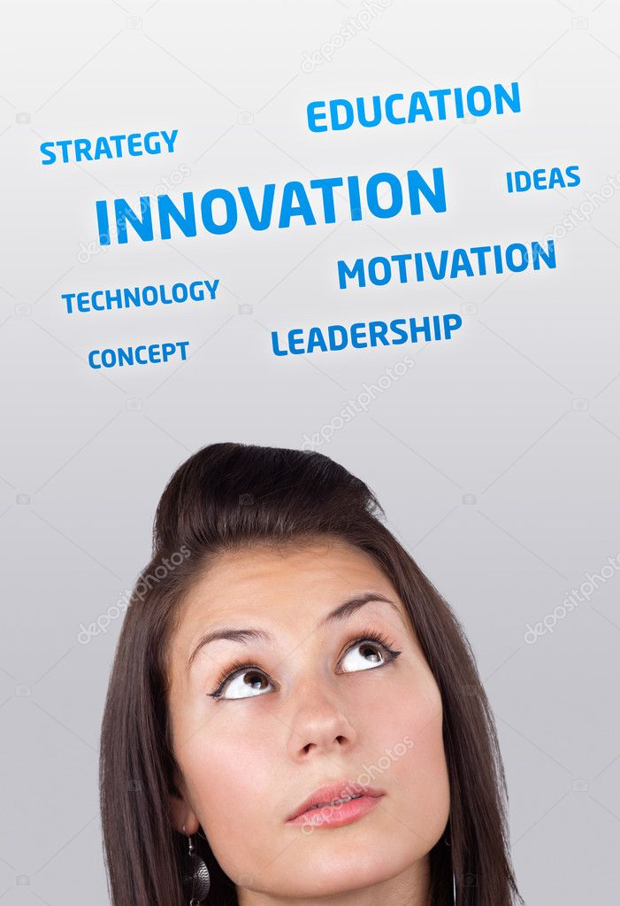 Young girl head looking at business icons and images — Stock Photo #6857016