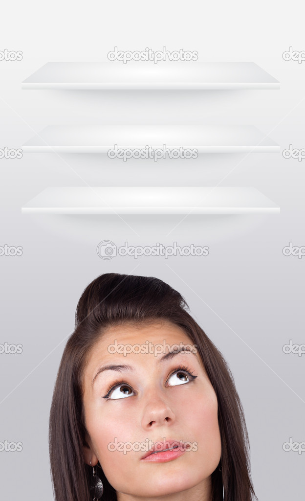 Young girl head looking at white copyspace  Stock Photo #6857023