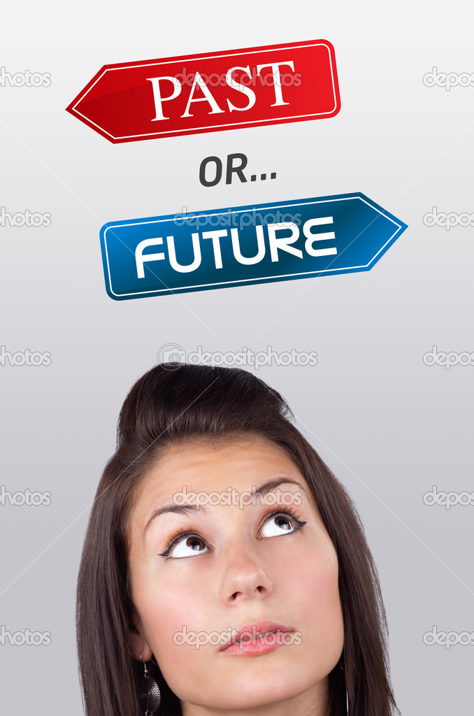 Young girl head looking with gesture at positive negative signs — Stock Photo #6857024
