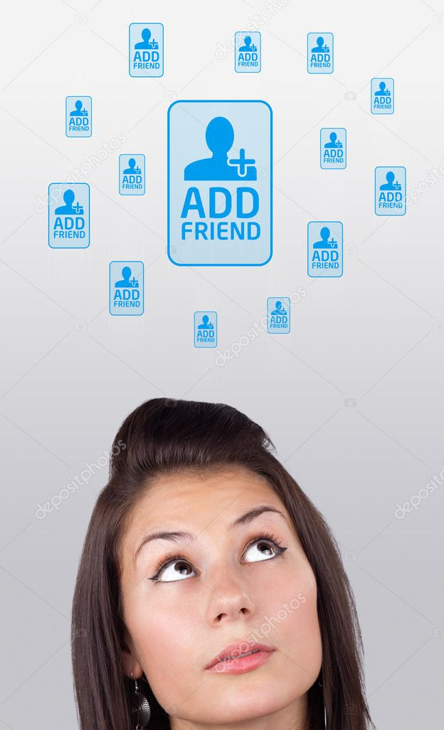 Young girl head looking with gesture at social type of icons and signs — Stock Photo #6857050