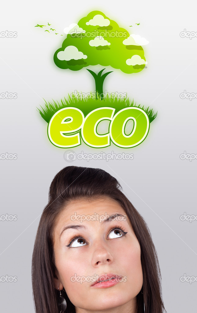 Young girl head looking at green eco sign — Stock Photo #6857058