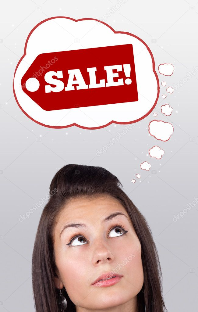 Young persons head looking with gesture at shipping and order signs — Foto de Stock   #6857073