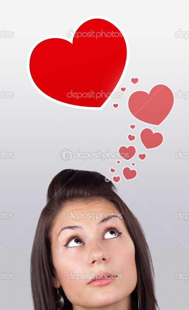 Young girl head looking with gesture at love signs — Lizenzfreies Foto #6857085