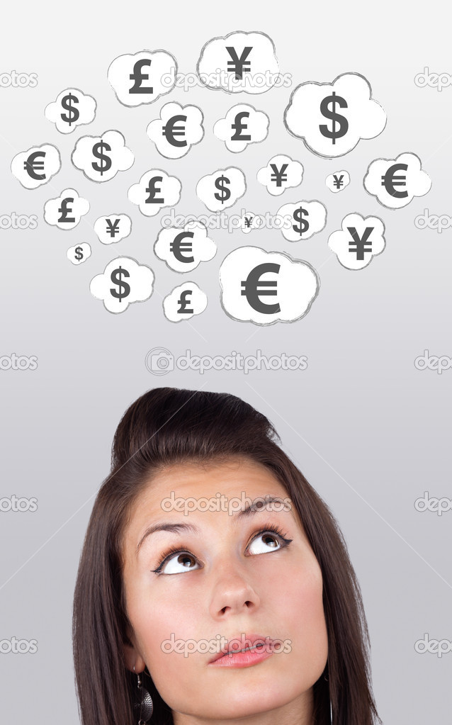 Young girl head looking at business icons and images — Stock Photo #6857093