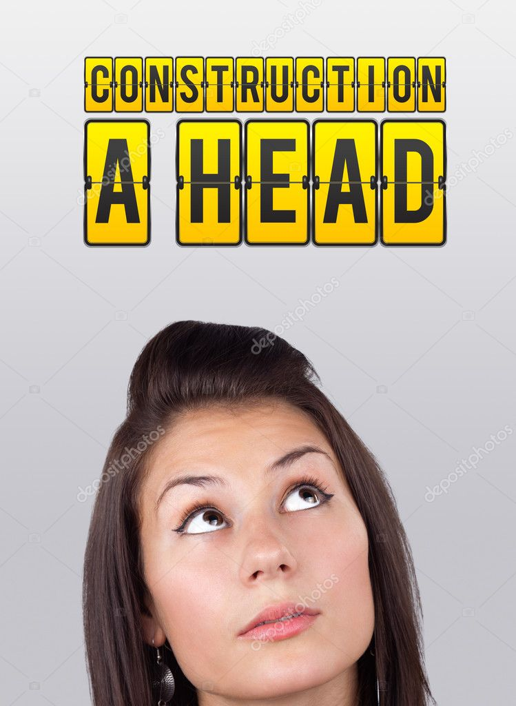 Young girl head looking with gesture at idea type of sign — Stock Photo #6857134
