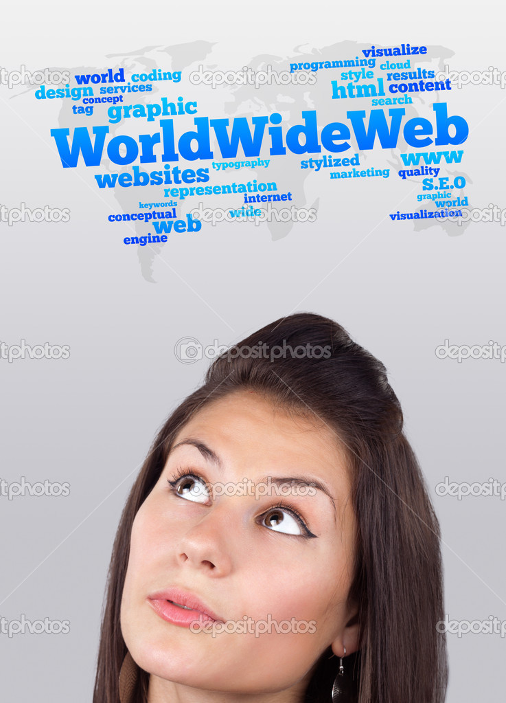 Young gril head looking with gesture at internet type of icons  Stock Photo #6857188