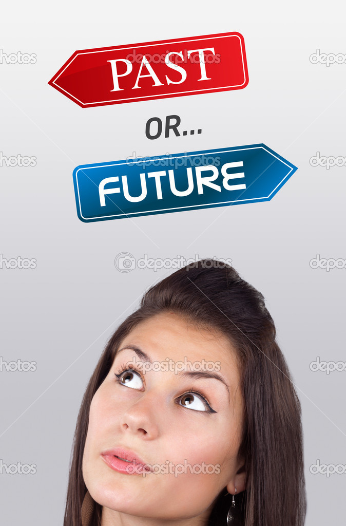 Young girl head looking with gesture at positive negative signs — Stock Photo #6857218