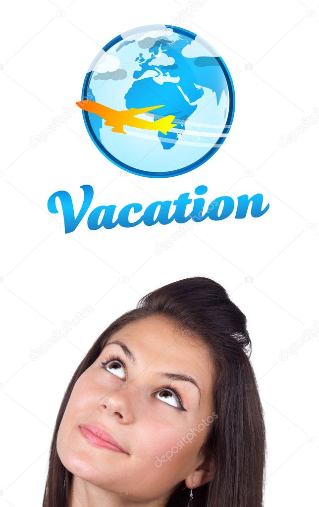 Young girl head looking with gesture at vacation type of sign — Stock Photo #6857458