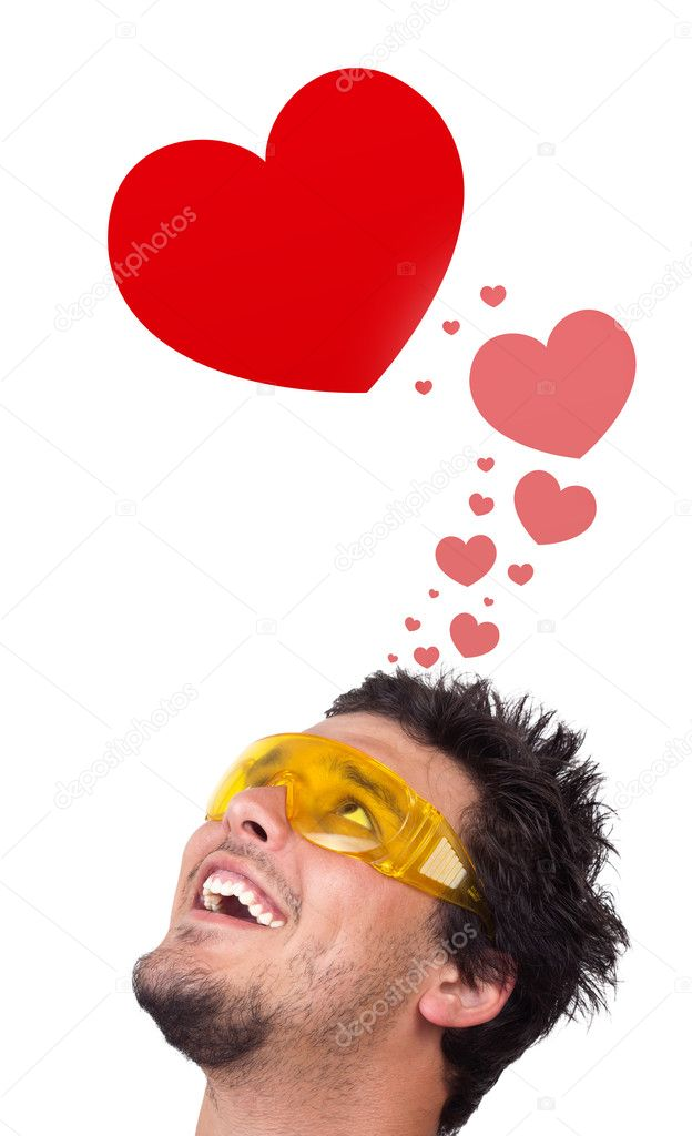 Young persons head looking with gesture at love signs — Stock Photo #6858541