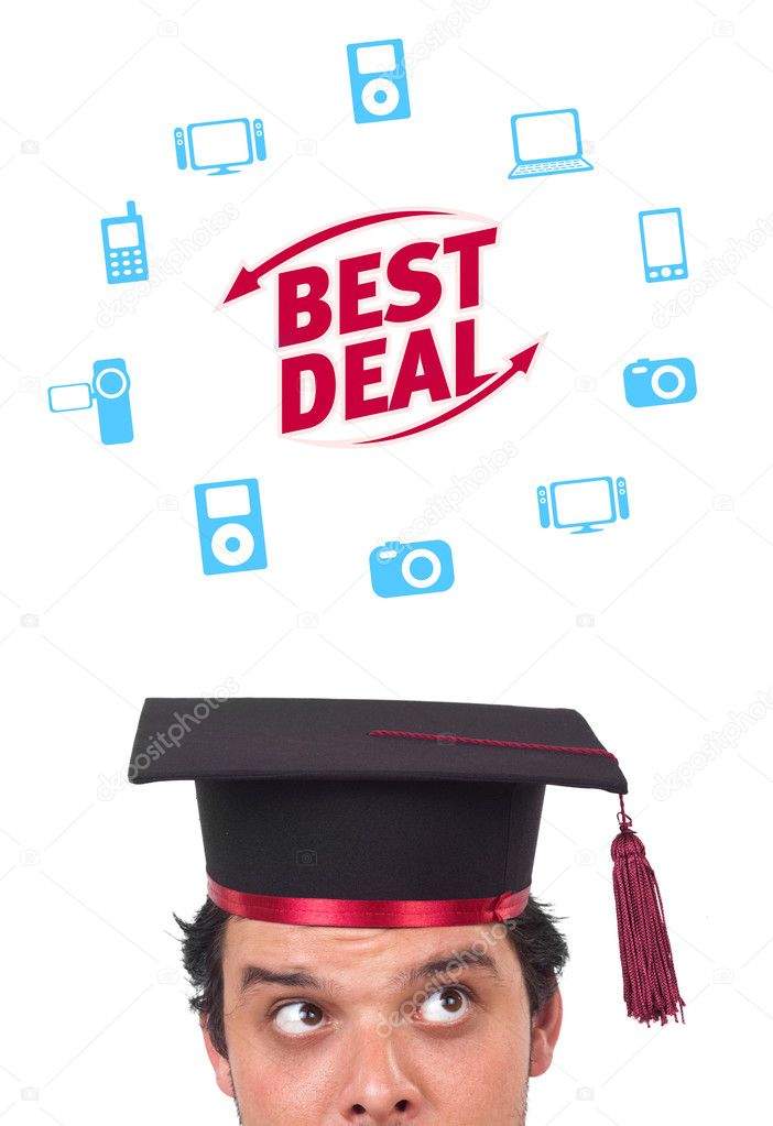 Young persons head looking with gesture at shipping and order signs — Stock Photo #6858679