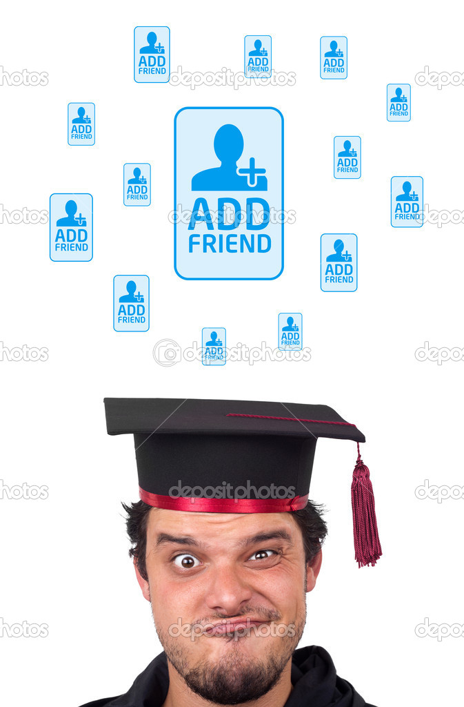 Young persons head looking with gesture at social type of icons and signs  Stock Photo #6858996