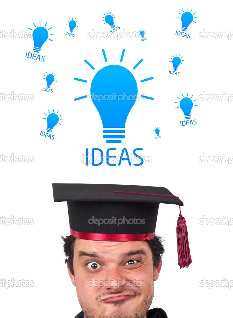 Young persons head looking with gesture at idea type of sign  Lizenzfreies Foto #6859038