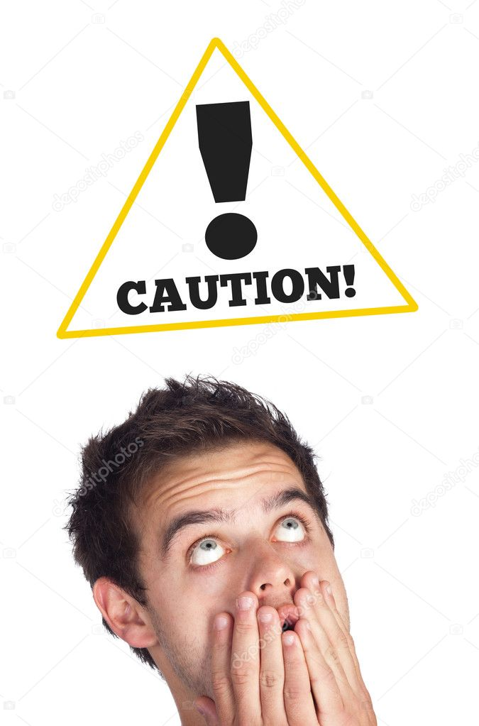 Young persons head looking at construction signs — Stock Photo #6859566