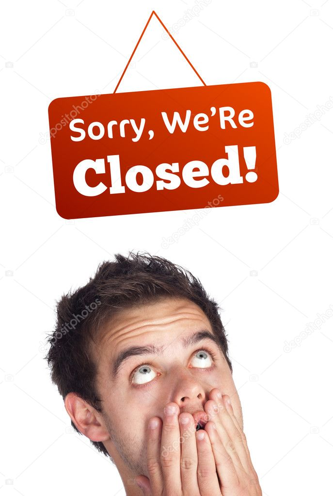 Young persons head looking at closed and open signs — Stock Photo #6859593