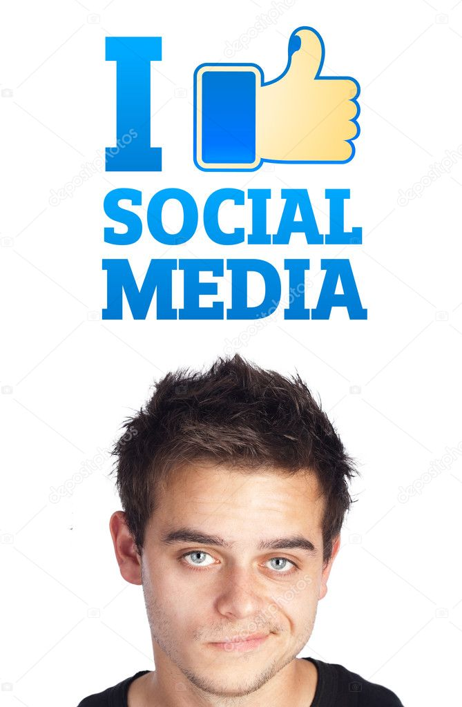 Young persons head looking with gesture at social type of icons and signs — Stock Photo #6859656