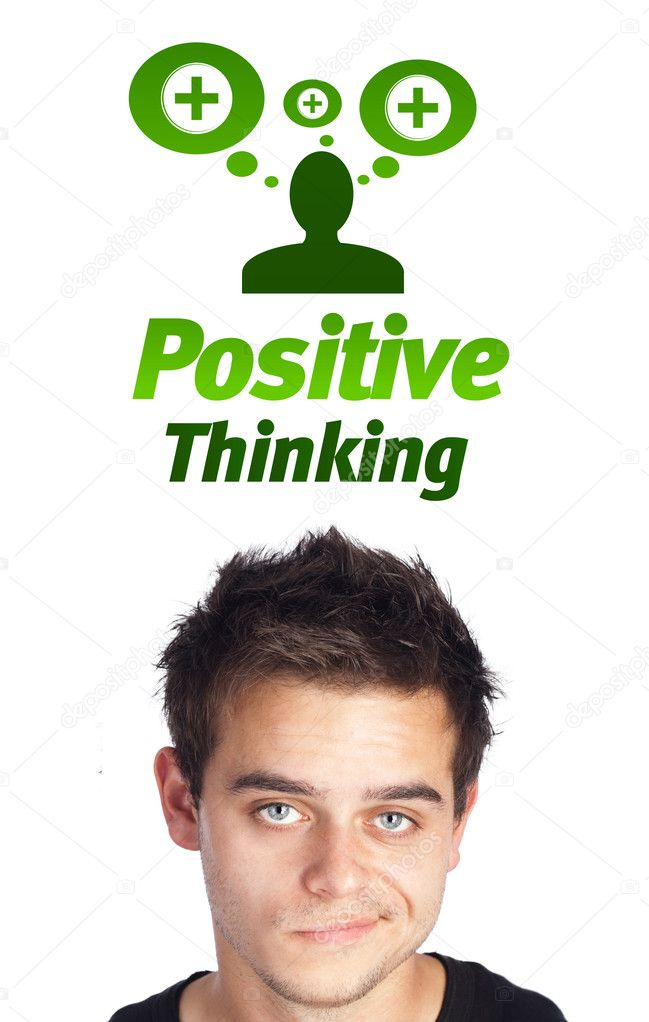 Young persons head looking with gesture at positive negative signs — Stock Photo #6859679